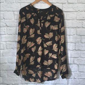 Lucky Brand Sheer Leaf printed long sleeve top
